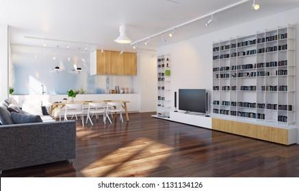 Modern kitchen interior 3d rendering. Contemporary design concept