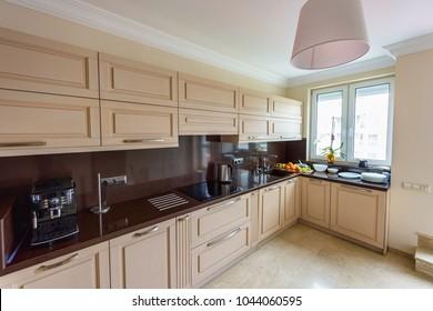 Modern kitchen interior. Appartement design Wide angle