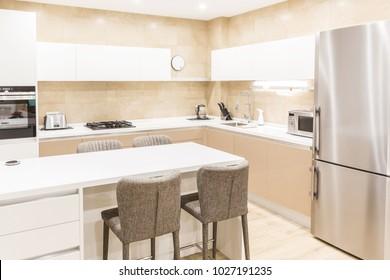 Modern kitchen interior  in beige tone