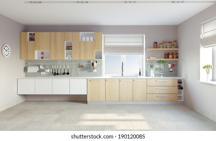 modern kitchen interior (CG concept)