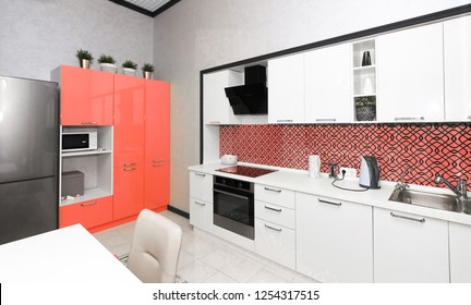 modern kitchen interior. color of the year 2019 Living coral