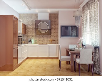 Modern kitchen interior design. 3d render.
