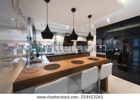 Modern Kitchen Interior Design Black White Stock Photo Edit Now