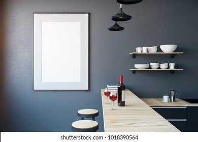 Modern kitchen interior with empty banner on wall. Mock up, 3D Rendernig