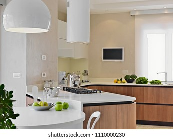 modern kitchen interior in the foreground the kitchen island and dining table