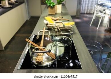 Modern kitchen interior with glass pot