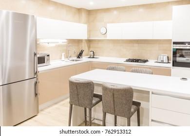 Modern kitchen interior in luxurious apartment