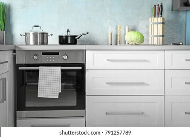 Modern kitchen interior with new oven