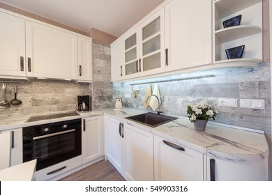 Modern kitchen interior. Interior photography.