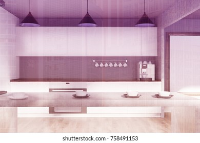 Modern kitchen interior with white and gray walls, a wooden floor and white cupboards and countertops. A coffee machine. 3d rendering mock up double exposure toned image