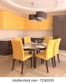 Modern kitchen interior.3d render.