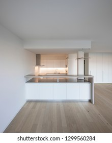 Modern kitchen with large hood and parquet. Nobody inside