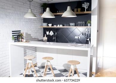 Modern kitchen in a luxurious apartment