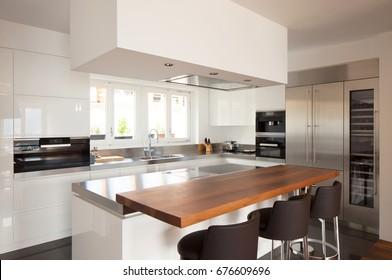 Modern kitchen in luxury apartment. Nobody inside