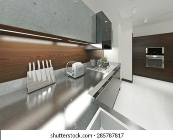 Modern kitchen with metal worktop. Furniture made of wood and metal elements. Brown and gray. 3d render.