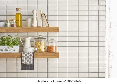 Modern Kitchen Shelf With White Tiles Wall Concept