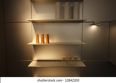 Modern Kitchen with shelving unit and accessories
