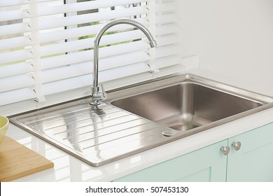 Modern kitchen sink, green tone