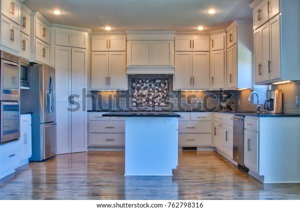 Modern Kitchen Stainless Steel Appliances Black Stock Photo Edit Now 762798316