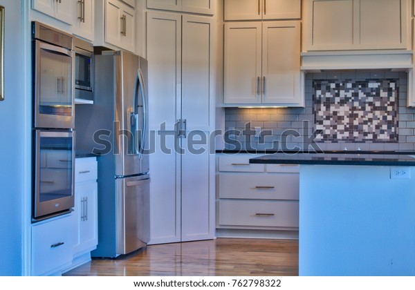 Modern Kitchen Stainless Steel Double Oven Stock Photo (Edit ...