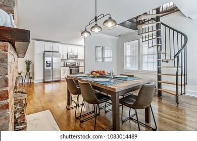 Modern Kitchen Table with Spiral Staircase