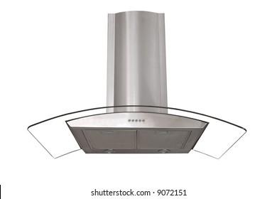Modern kitchen wall hood - isolated