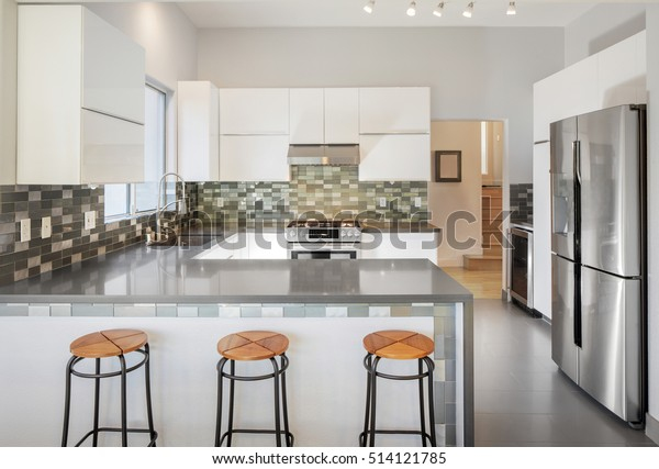 Excellent Modern Kitchen White Bar Stools Grey Stock Photo Edit Now Alphanode Cool Chair Designs And Ideas Alphanodeonline