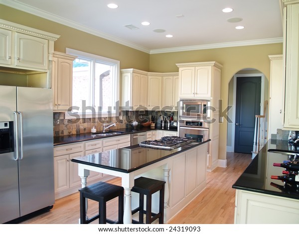 Modern Kitchen White Cabinets Black Granite Stock Photo Edit Now 24319093