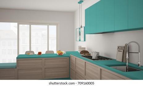 Modern kitchen with wooden details and parquet floor, healthy breakfast, minimalist white and turquoise interior design, 3d illustration