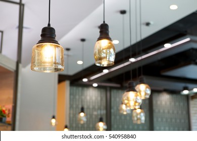 modern lamp in coffee shop