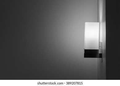 Modern lamp on the wall in black and white and blank space for text or object