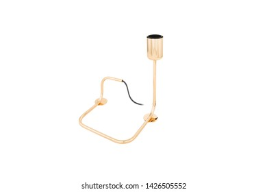 Modern lampshade lamp isolated on gold yellow