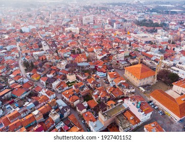 Modern landscape of Burdur city with old Clock Tower, panoramic view from drone