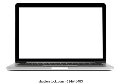 modern laptop with blank screen isolated on white background
