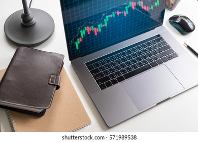 Modern laptop with candle Graph investment concept on working desk