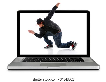 Modern laptop computer with hip hop dancer over white background