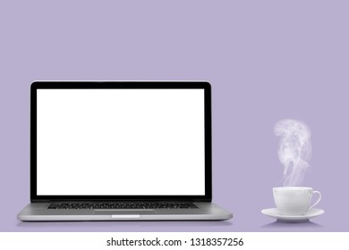 a modern laptop computer  isolated on  colors background Proton Purple