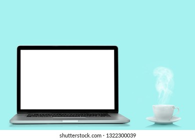 modern laptop computer  isolated on the turquoise background