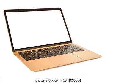 Modern laptop computer isolated on the white background - Image