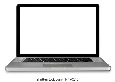 Modern laptop computer isolated over white