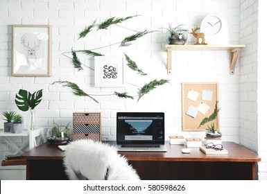 Modern laptop on wooden desk