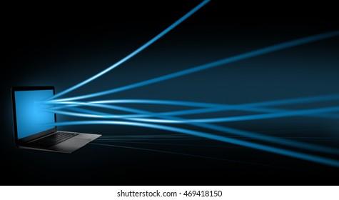 Modern laptop streaming data. New technology concept