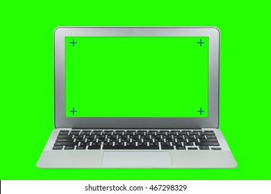 modern laptop whit green screen background