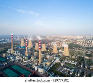 modern large thermal power plant , dezhou city ,shandong province,China
