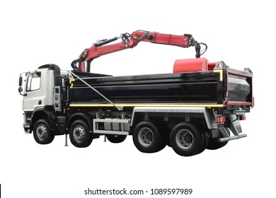 A Modern Large Tipper Lorry with an Hydraulic Grab Arm.