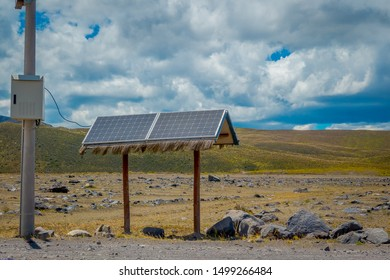 Modern large-scale photovoltaic solar panels in the Andes Mountain range.