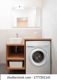Modern laundry room with washing machine, small bathroom laundry, washing machine in home