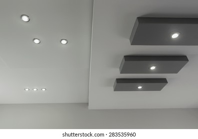 Modern layered ceiling with embedded lights, view 5