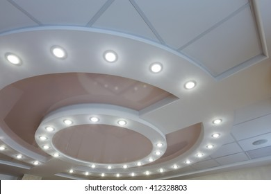 Ceiling lights images stock photos vectors shutterstock modern layered ceiling with embedded lights and stretched ceiling inlay light turned on mozeypictures Choice Image