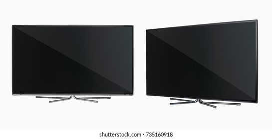 modern LCD flat-screen TV with metal legs in two positions on a white background